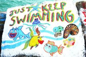 Nambucca Heads holiday rentals - holiday lettings. Mid North Coast accommodation near Valla Beach - Rock Painting at Nambucca River