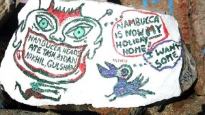 Nambucca Heads holiday rentals - holiday lettings. Mid North Coast accommodation near Valla Beach - Some rock painting on Nambucca River